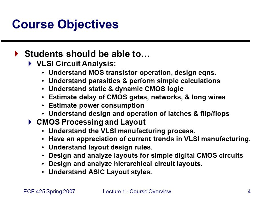ECE 425 Spring 2007Lecture 1 - Course Overview4 Course Objectives  Students should be able to…  VLSI Circuit Analysis: Understand MOS transistor ope