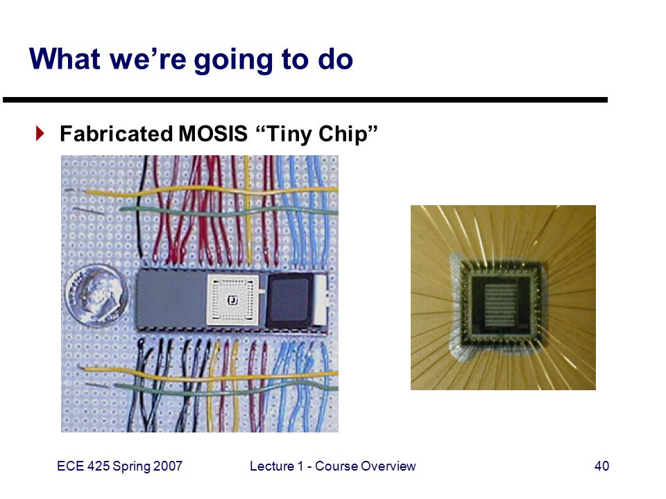 "ECE 425 Spring 2007Lecture 1 - Course Overview40 What we're going to do  Fabricated MOSIS ""Tiny Chip"""