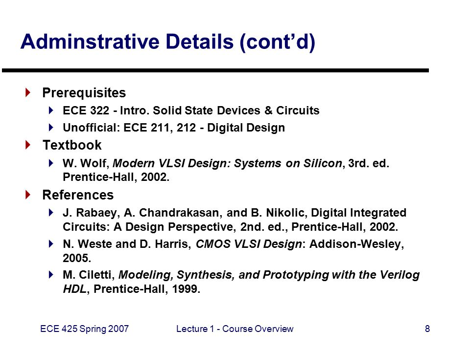 ECE 425 Spring 2007Lecture 1 - Course Overview8 Adminstrative Details (cont'd)  Prerequisites  ECE 322 - Intro.