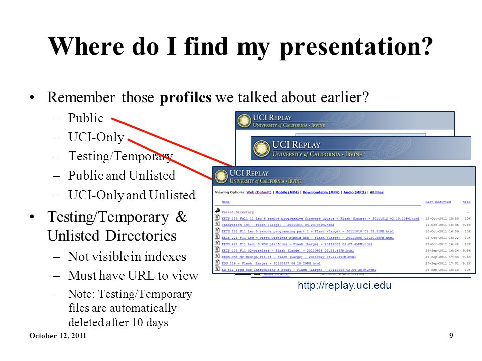 October 12, 20119 Where do I find my presentation.