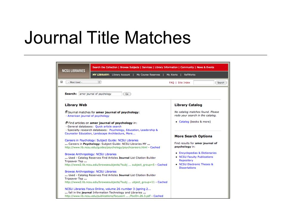 Journal Title Matches
