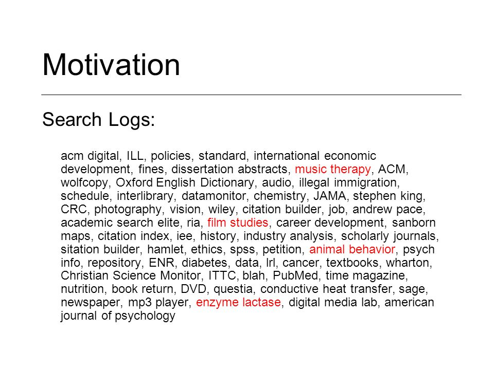 Motivation Search Logs: acm digital, ILL, policies, standard, international economic development, fines, dissertation abstracts, music therapy, ACM, wolfcopy, Oxford English Dictionary, audio, illegal immigration, schedule, interlibrary, datamonitor, chemistry, JAMA, stephen king, CRC, photography, vision, wiley, citation builder, job, andrew pace, academic search elite, ria, film studies, career development, sanborn maps, citation index, iee, history, industry analysis, scholarly journals, sitation builder, hamlet, ethics, spss, petition, animal behavior, psych info, repository, ENR, diabetes, data, lrl, cancer, textbooks, wharton, Christian Science Monitor, ITTC, blah, PubMed, time magazine, nutrition, book return, DVD, questia, conductive heat transfer, sage, newspaper, mp3 player, enzyme lactase, digital media lab, american journal of psychology