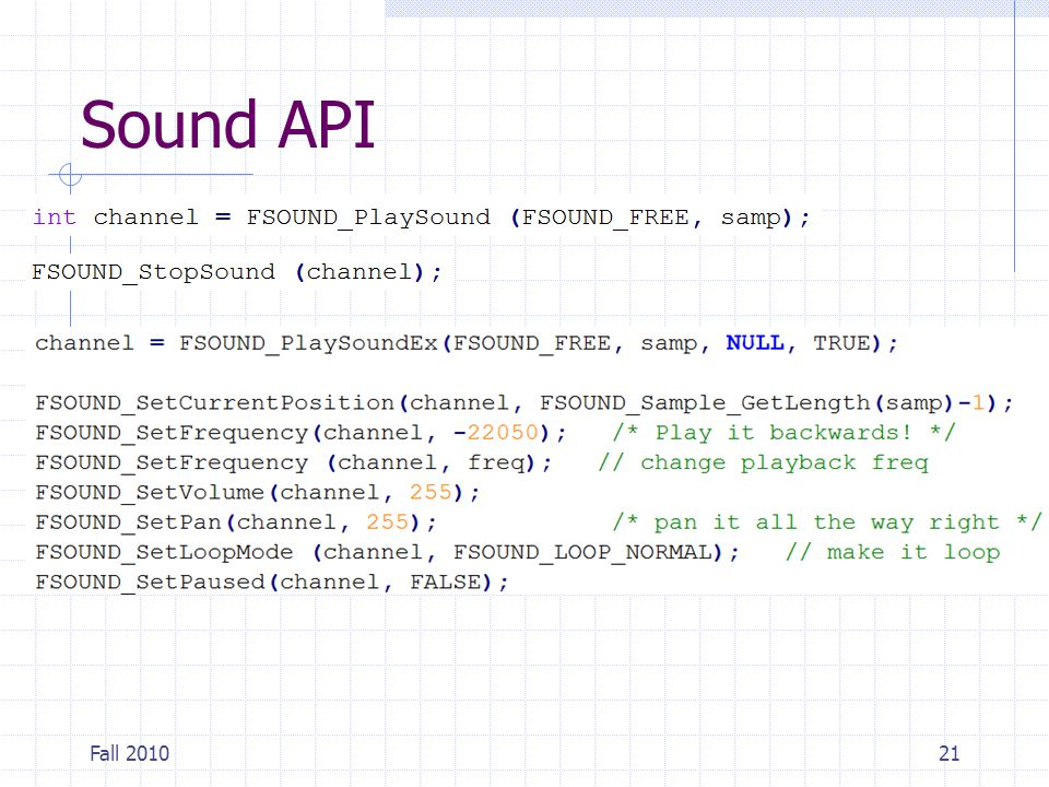 Sound API Fall 201021