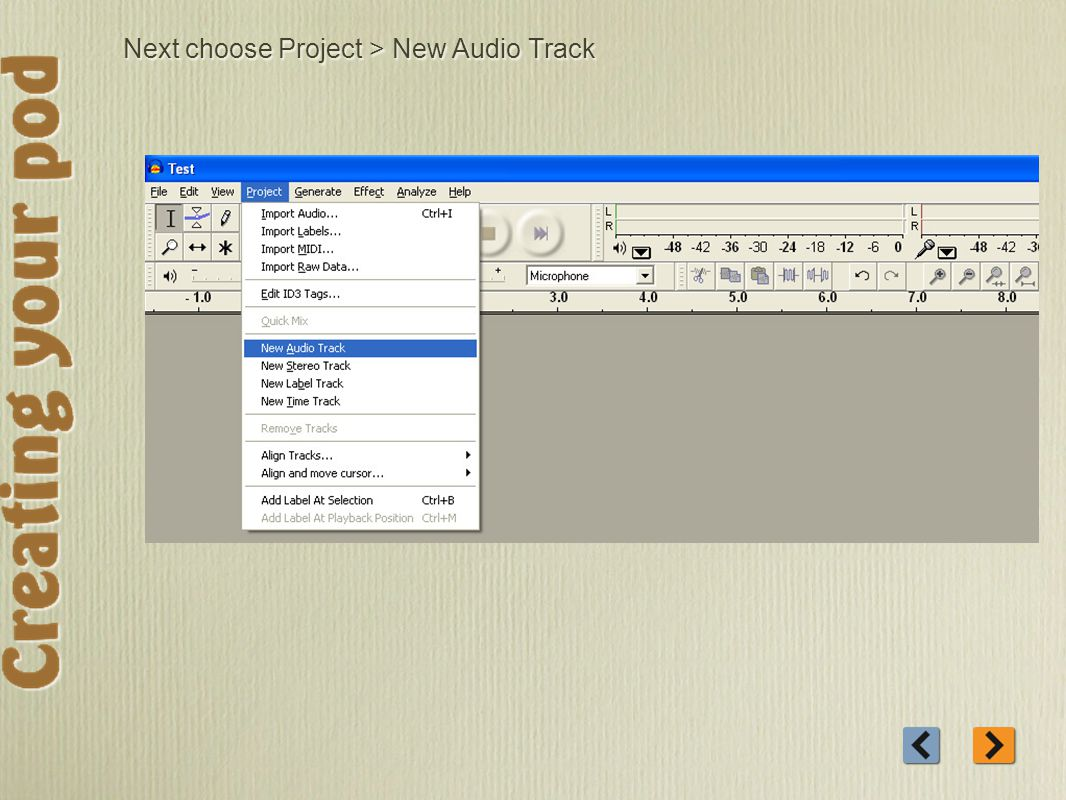 Next choose Project > New Audio Track
