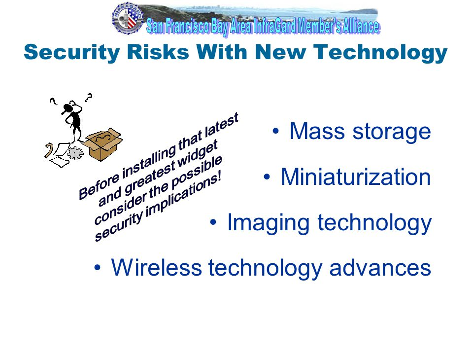 1 Security Risks With New Technology Mass storage Miniaturization Imaging technology Wireless technology advances