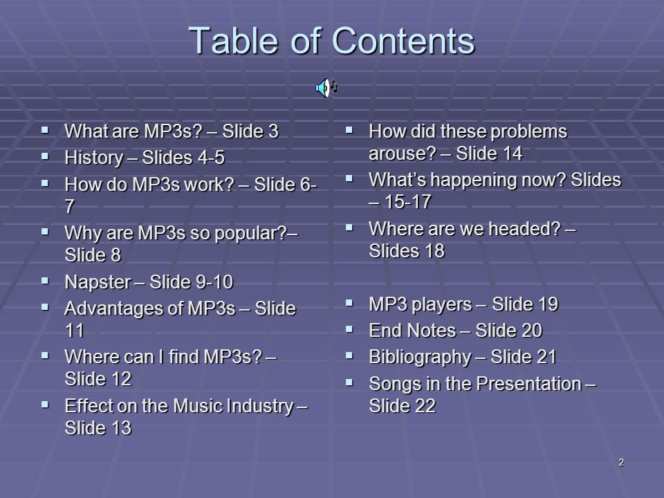 2 Table of Contents  What are MP3s. – Slide 3  History – Slides 4-5  How do MP3s work.