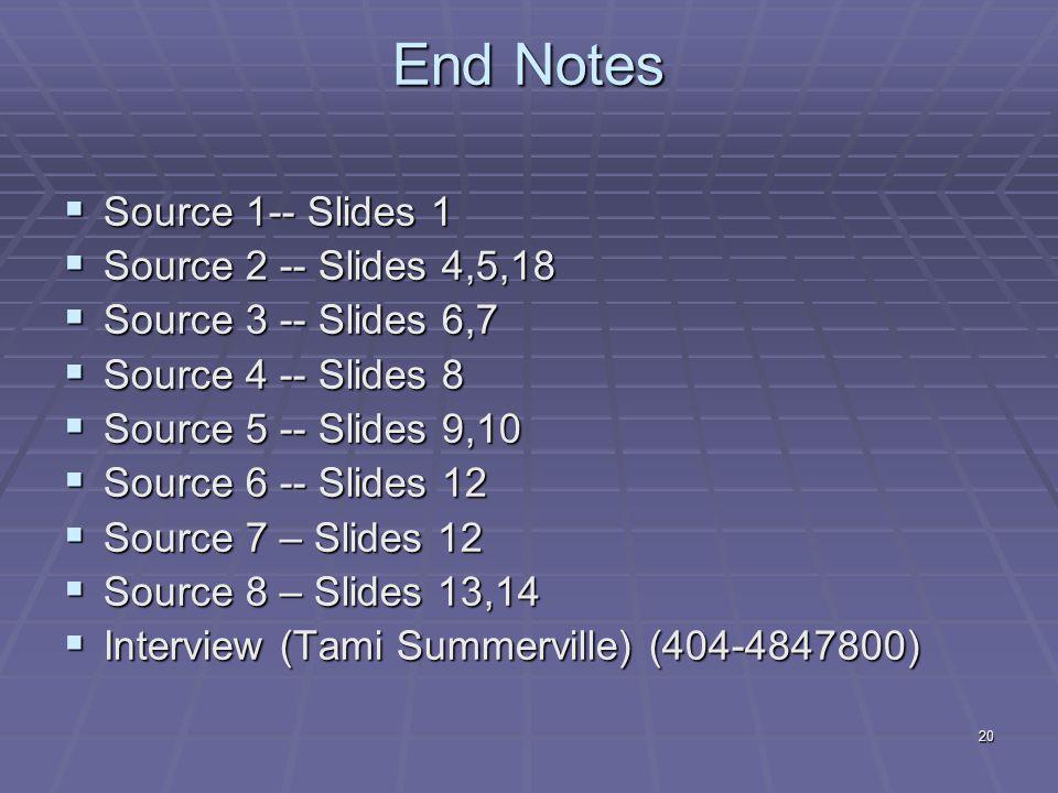 20 End Notes  Source 1-- Slides 1  Source 2 -- Slides 4,5,18  Source 3 -- Slides 6,7  Source 4 -- Slides 8  Source 5 -- Slides 9,10  Source 6 -- Slides 12  Source 7 – Slides 12  Source 8 – Slides 13,14  Interview (Tami Summerville) (404-4847800)