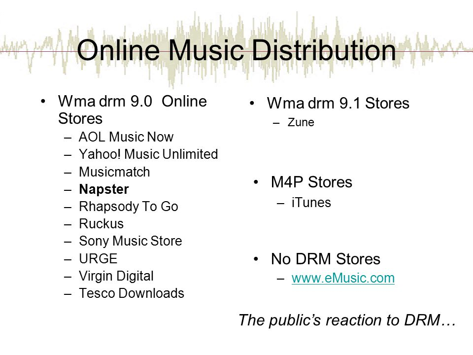 Online Music Distribution Wma drm 9.0 Online Stores –AOL Music Now –Yahoo.