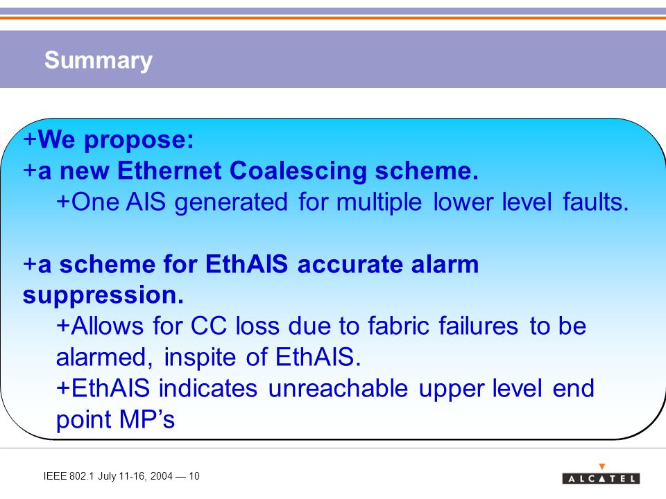 IEEE 802.1 July 11-16, 2004 — 10 Summary +We propose: +a new Ethernet Coalescing scheme.
