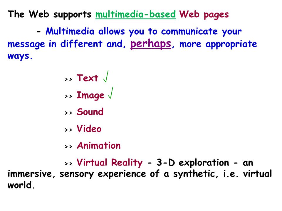 A powerful aspect of computing technology is the ability to combine text, graphics, sounds, and moving images in meaningful ways. In today's Web envir