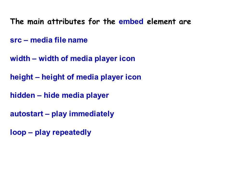 Attributes http://www.htmlcodetutorial.com/embeddedobjects/_EMBED.html
