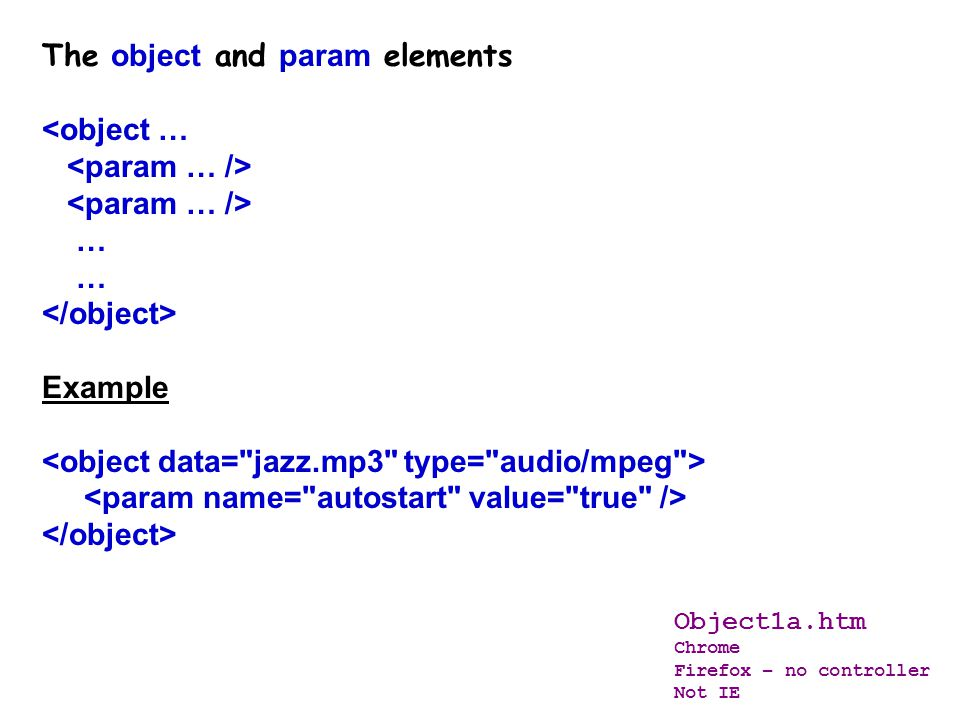 The param element Depending on the media type and plug-in or player to be used, additional configuration values are required. The HTML element defines