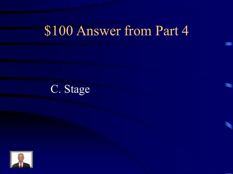 $100 Question from Part 4 Susie is creating an animation project. Which part of the animation program will she use to generate the animation? A.Librar