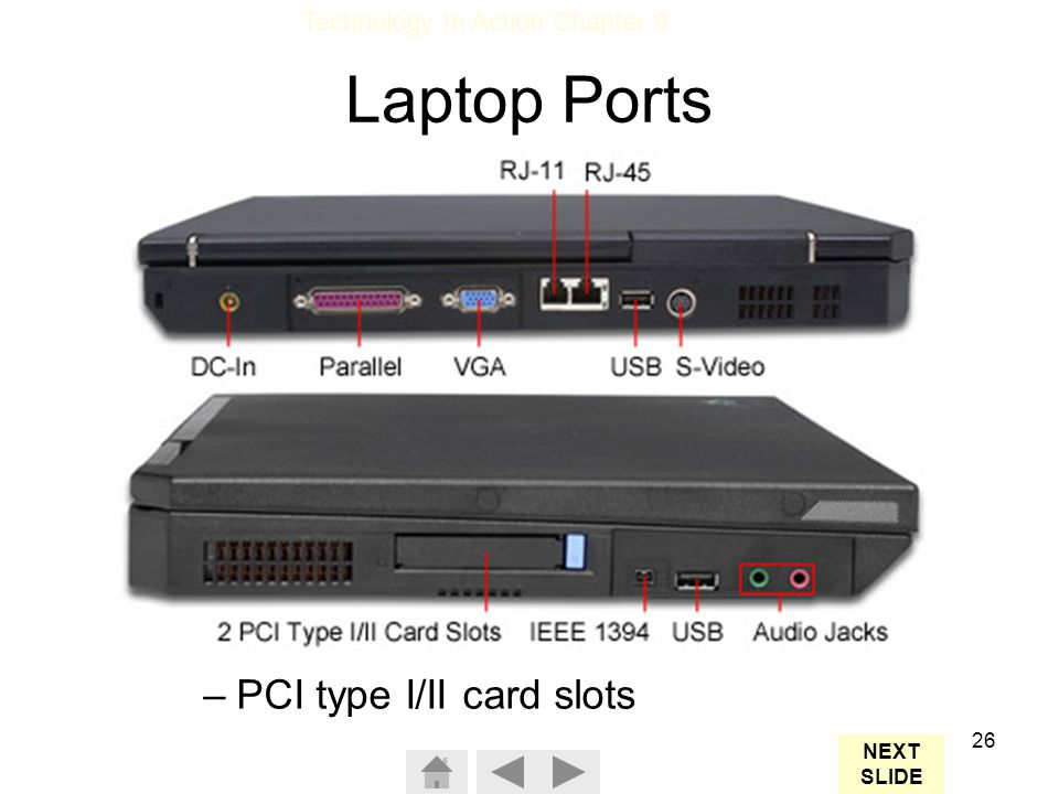 Technology In Action Chapter 8 26 A full set of ports: –Parallel –Monitor –USB –Modem –Ethernet –Audio jacks –FireWire –PCI type I/II card slots Laptop Ports NEXT SLIDE