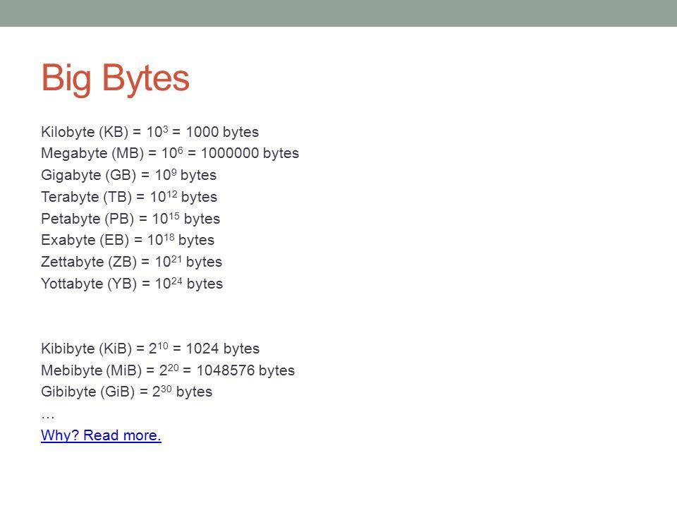 Big Bytes Kilobyte (KB) = 10 3 = 1000 bytes Megabyte (MB) = 10 6 = 1000000 bytes Gigabyte (GB) = 10 9 bytes Terabyte (TB) = 10 12 bytes Petabyte (PB)