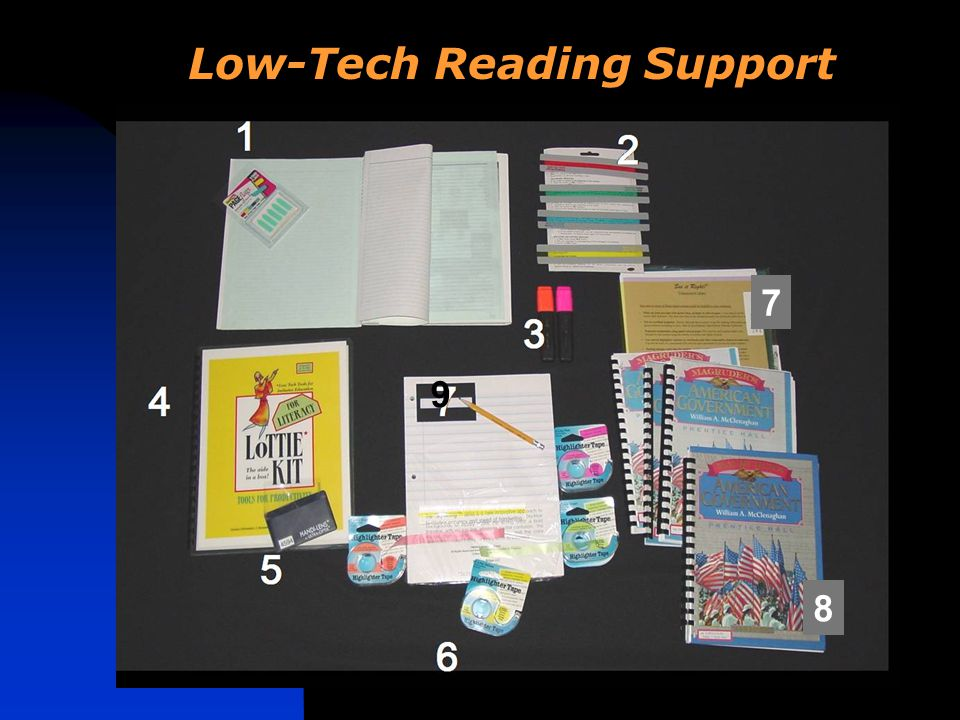 3 6 Low-Tech Reading Support 8 7 9