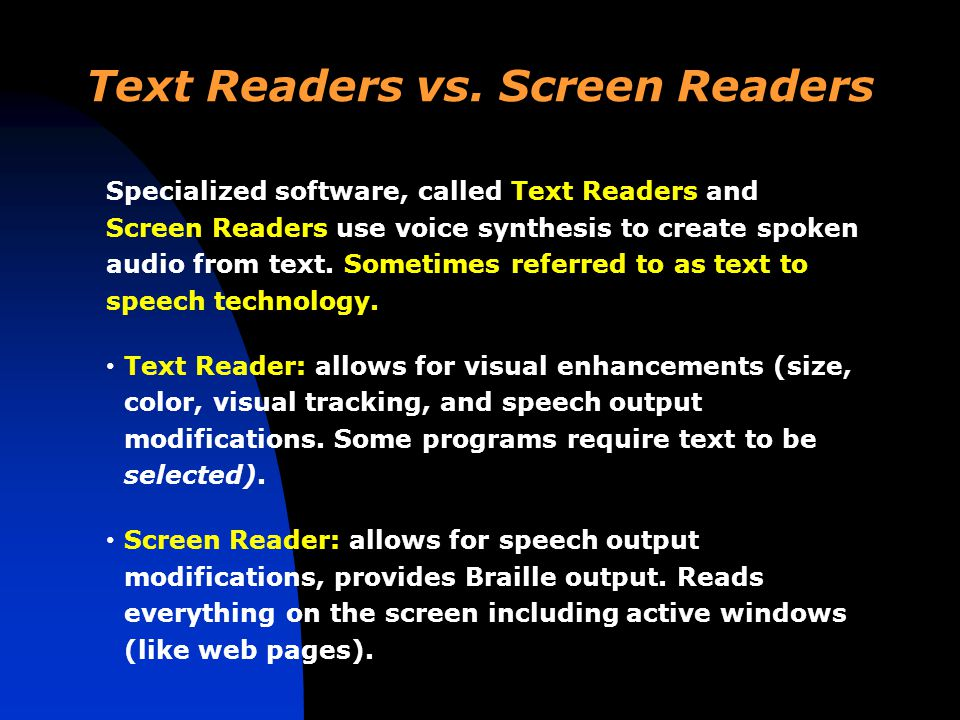 Text Readers vs.