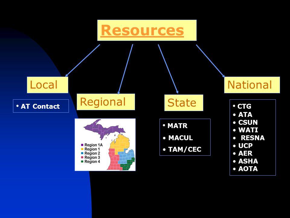 Resources Local Regional National State MATR MACUL TAM/CEC AT Contact CTG ATA CSUN WATI RESNA UCP AER ASHA AOTA