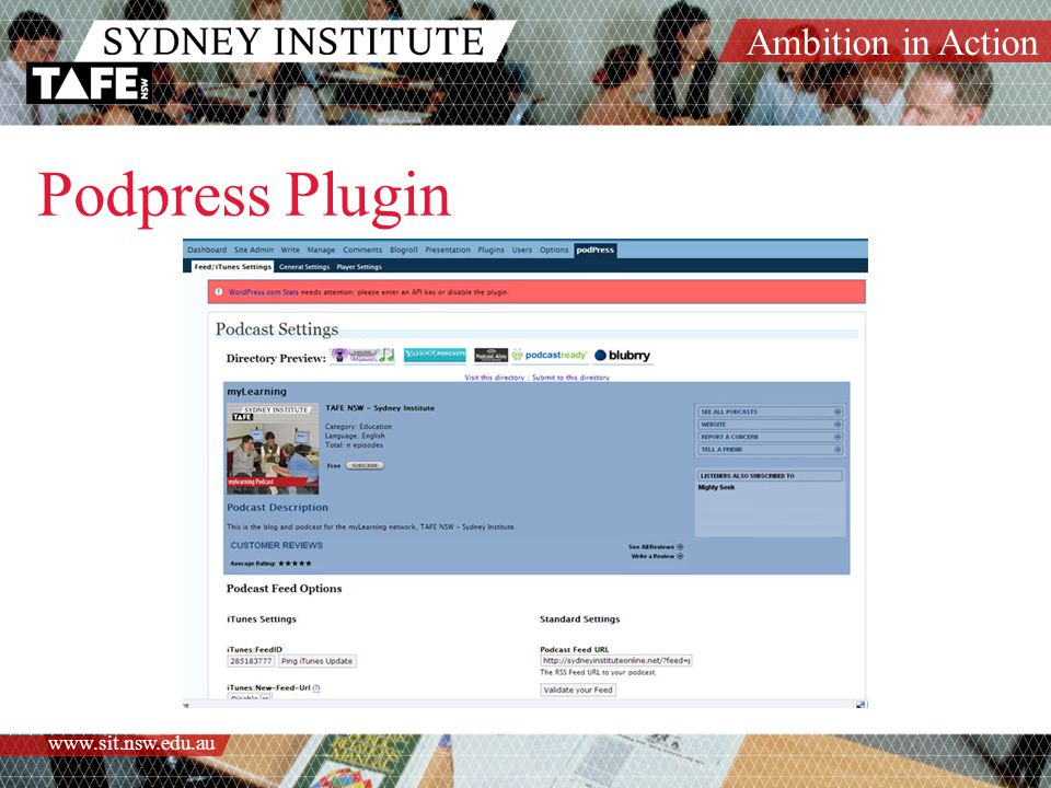 Ambition in Action www.sit.nsw.edu.au Podpress Plugin