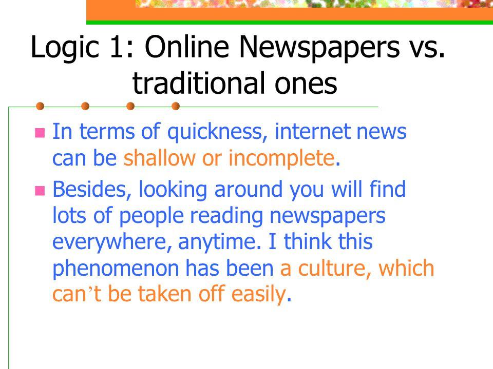 Logic 1: Online Newspapers vs.