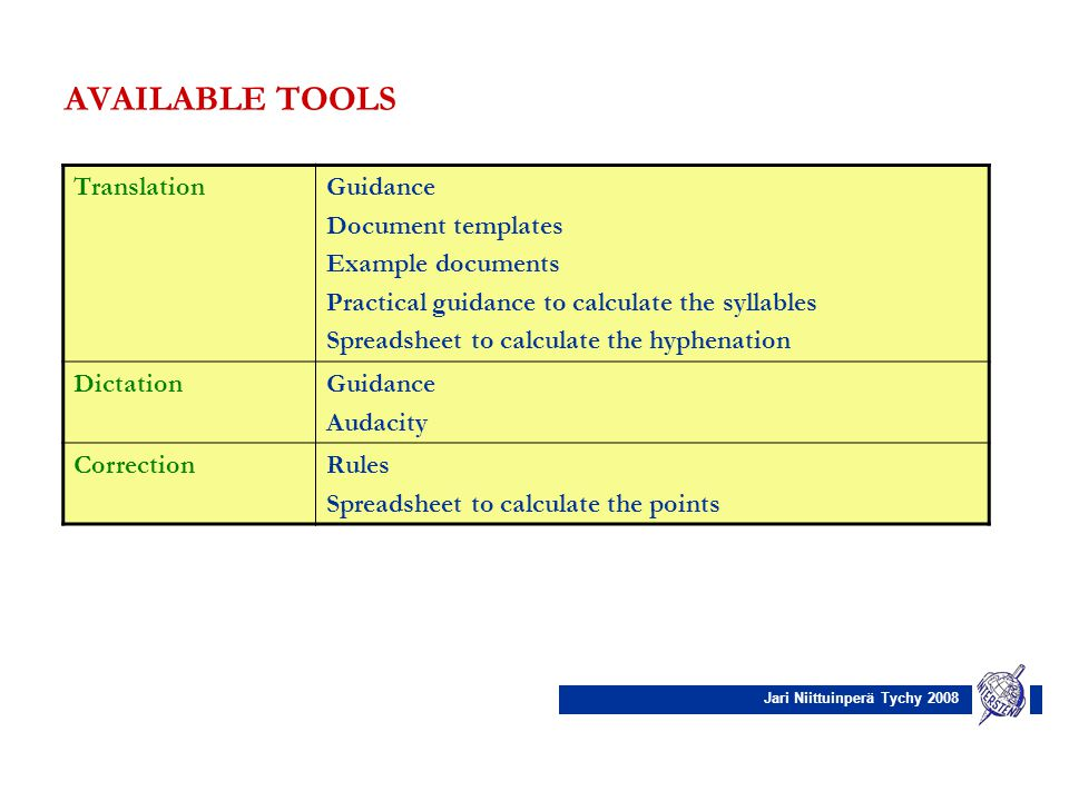 Jari Niittuinperä Tychy 2008 AVAILABLE TOOLS TranslationGuidance Document templates Example documents Practical guidance to calculate the syllables Sp
