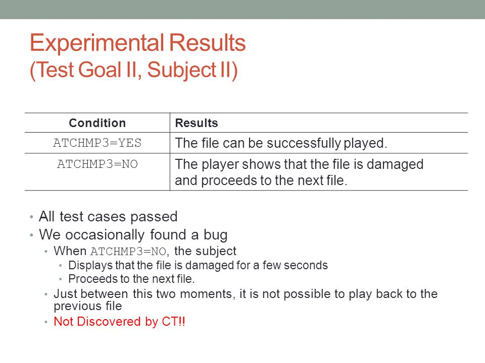 Experimental Results (Test Goal II, Subject II) All test cases passed We occasionally found a bug When ATCHMP3=NO, the subject Displays that the file