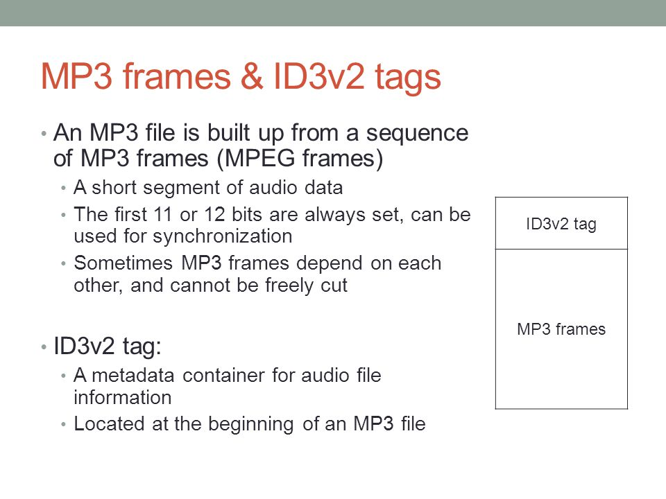 MP3 frames & ID3v2 tags An MP3 file is built up from a sequence of MP3 frames (MPEG frames) A short segment of audio data The first 11 or 12 bits are