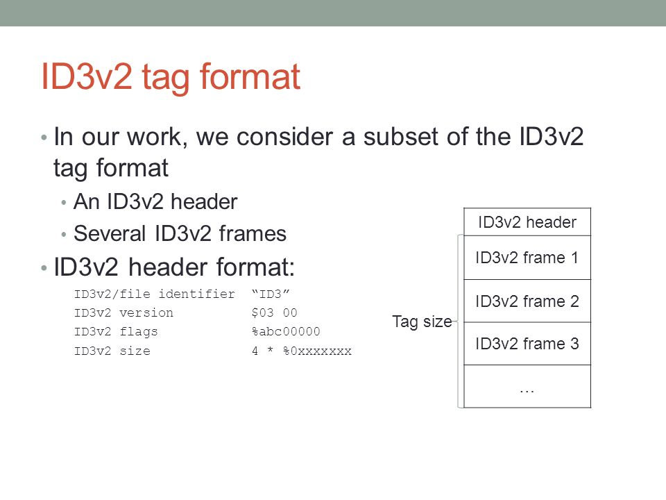 ID3v2 tag format In our work, we consider a subset of the ID3v2 tag format An ID3v2 header Several ID3v2 frames ID3v2 header format: ID3v2/file identi