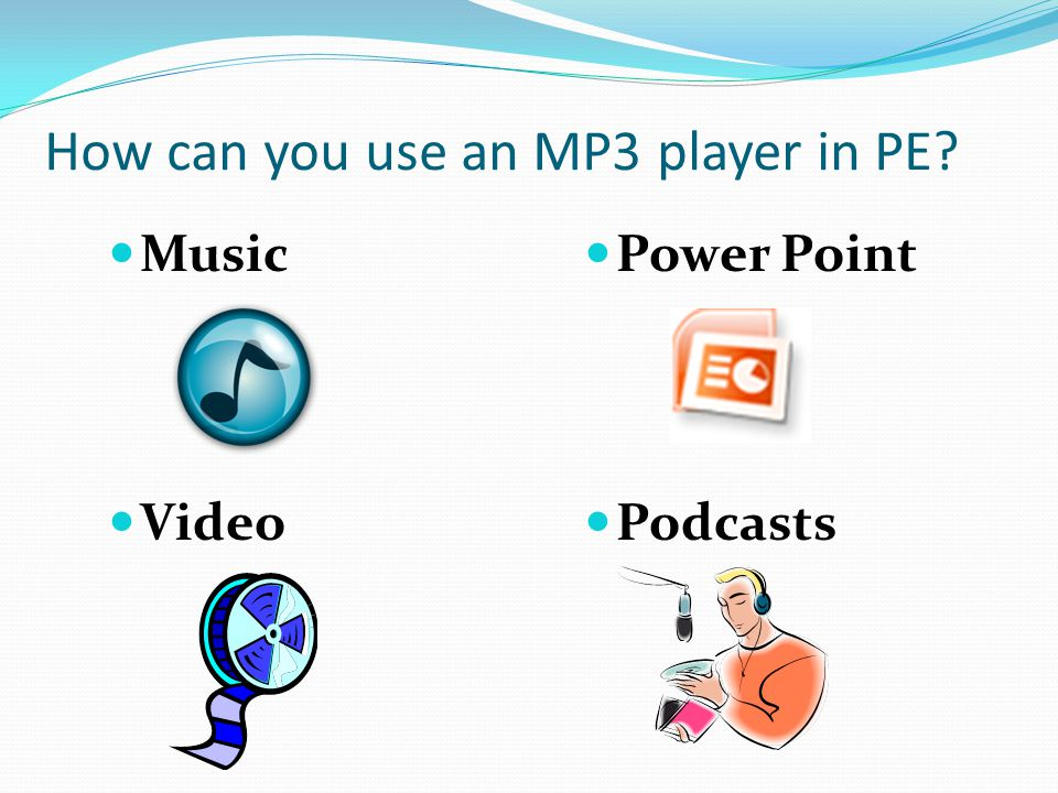 Overview Different types of MP3 players - iPod - Zune - Others (Samsung, Creative Labs, Sony, SanDisk, etc.) Computer software (converting files) - Videora - 123 DVD Copy Docking Systems - Infrared (IR) Remotes - Radio Freqency (RF) Remotes Editing Software - Windows Movie Maker (.wmv files) - Quick Time Player (.mov and.mpeg files)