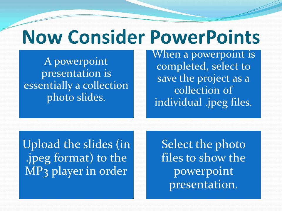 Now Consider PowerPoints A powerpoint presentation is essentially a collection photo slides.