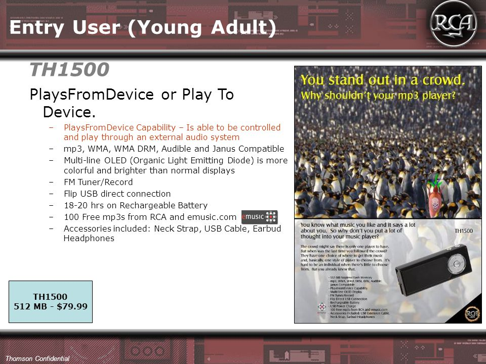 Thomson Confidential Entry User (Young Adult) PlaysFromDevice or Play To Device.