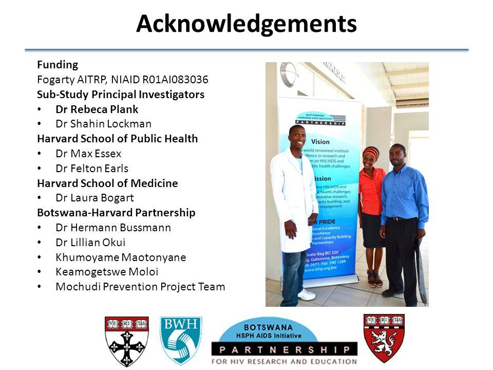 Acknowledgements Funding Fogarty AITRP, NIAID R01AI083036 Sub-Study Principal Investigators Dr Rebeca Plank Dr Shahin Lockman Harvard School of Public