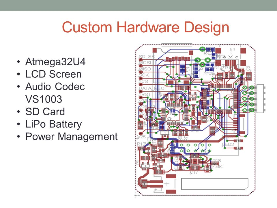 Custom Hardware Design Atmega32U4 LCD Screen Audio Codec VS1003 SD Card LiPo Battery Power Management
