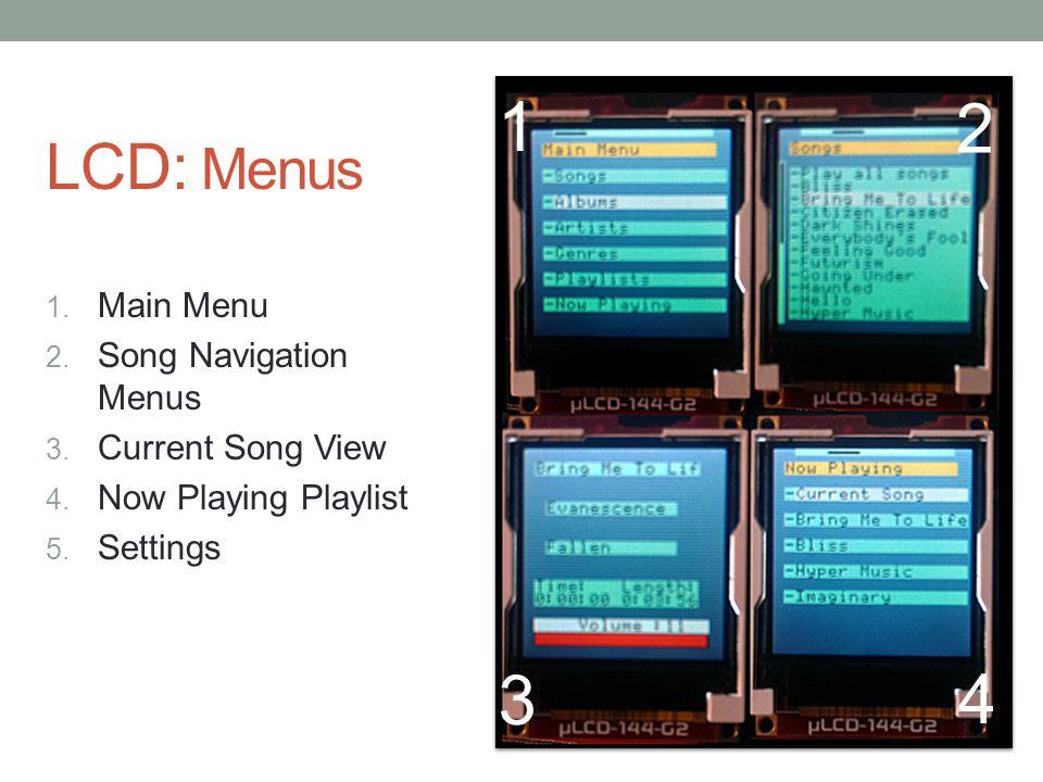 LCD: Menus 1. Main Menu 2. Song Navigation Menus 3. Current Song View 4. Now Playing Playlist 5. Settings 1 2 3 4