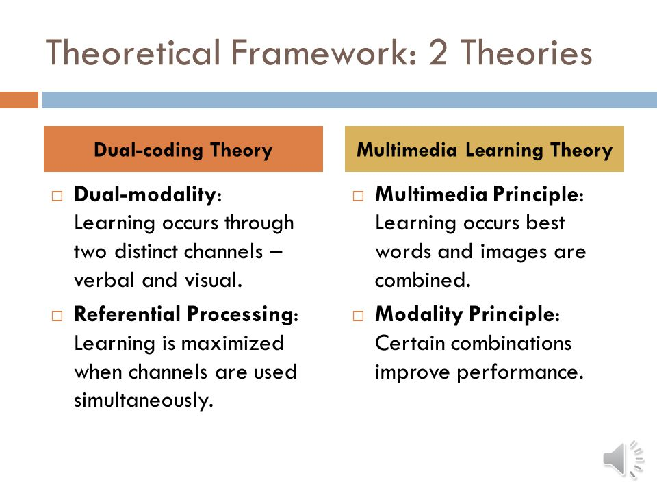 Hypotheses  H1: Multiple modes = better for information processing  H2: Audio/video = best combination of modes RQ1: Does size of screen impact learning.
