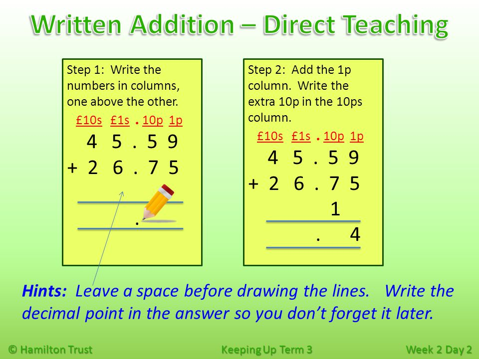 © Hamilton Trust Keeping Up Term 3 Week 2 Day 2 Step 3: Add the 10ps, including the extra 10p.