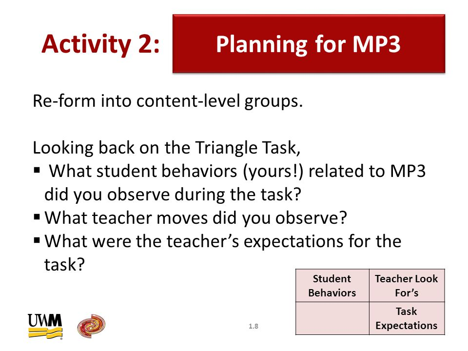 1.8 Planning for MP3 Activity 2: Re-form into content-level groups.