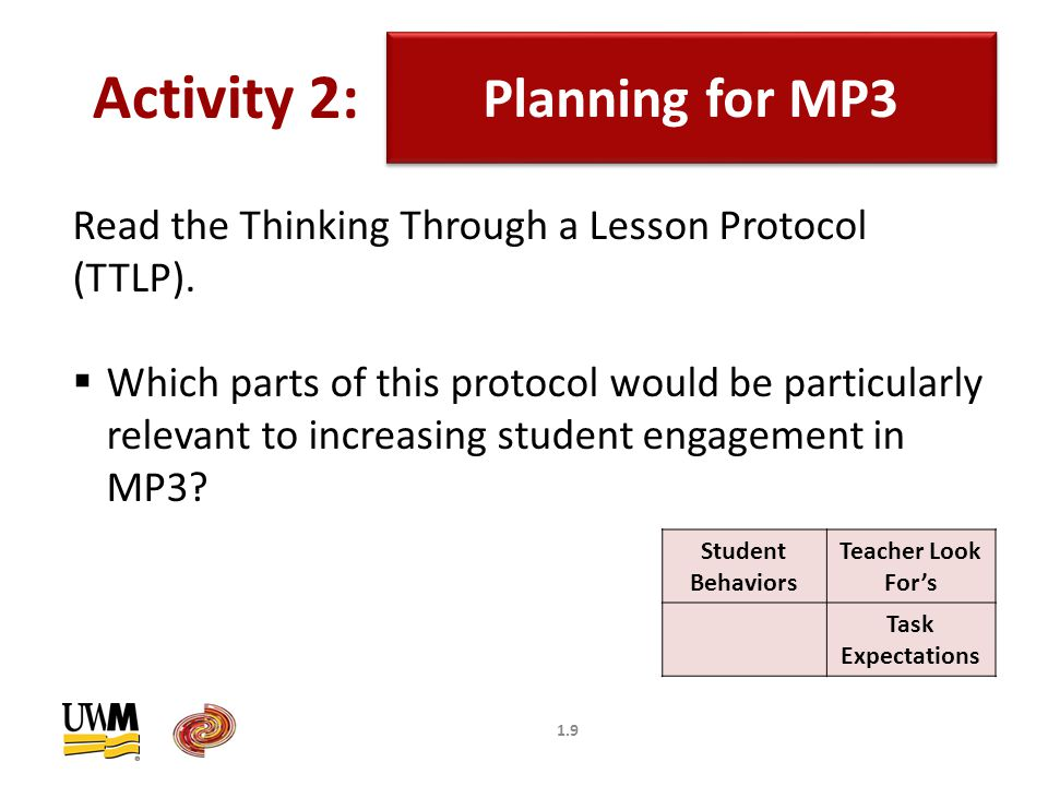 1.9 Planning for MP3 Activity 2: Read the Thinking Through a Lesson Protocol (TTLP).