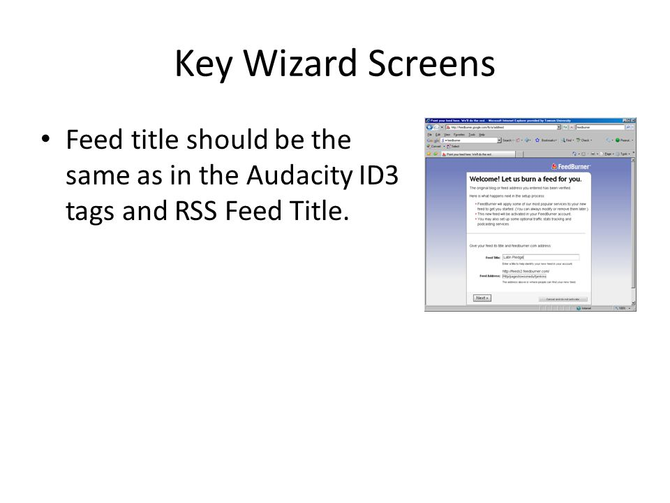 Key Wizard Screens Feed title should be the same as in the Audacity ID3 tags and RSS Feed Title.
