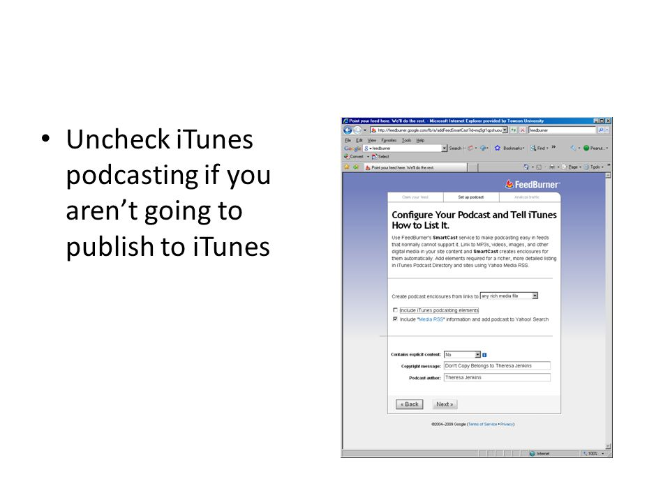 Uncheck iTunes podcasting if you aren't going to publish to iTunes