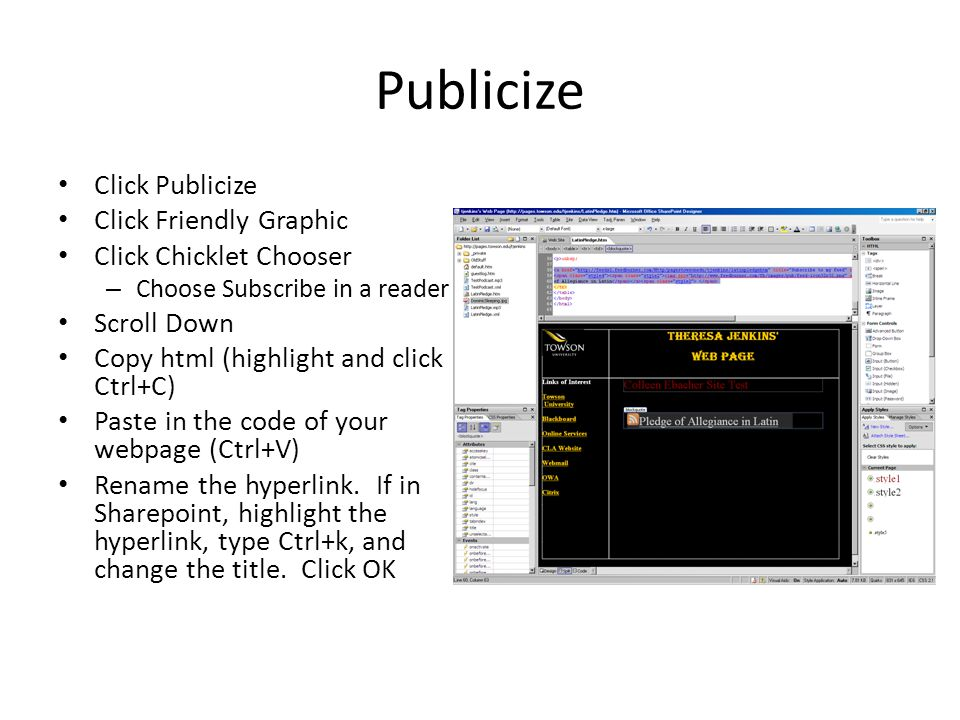 Publicize Click Publicize Click Friendly Graphic Click Chicklet Chooser – Choose Subscribe in a reader Scroll Down Copy html (highlight and click Ctrl+C) Paste in the code of your webpage (Ctrl+V) Rename the hyperlink.