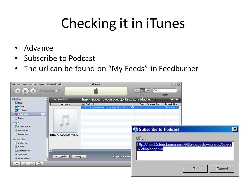 Checking it in iTunes Advance Subscribe to Podcast The url can be found on My Feeds in Feedburner