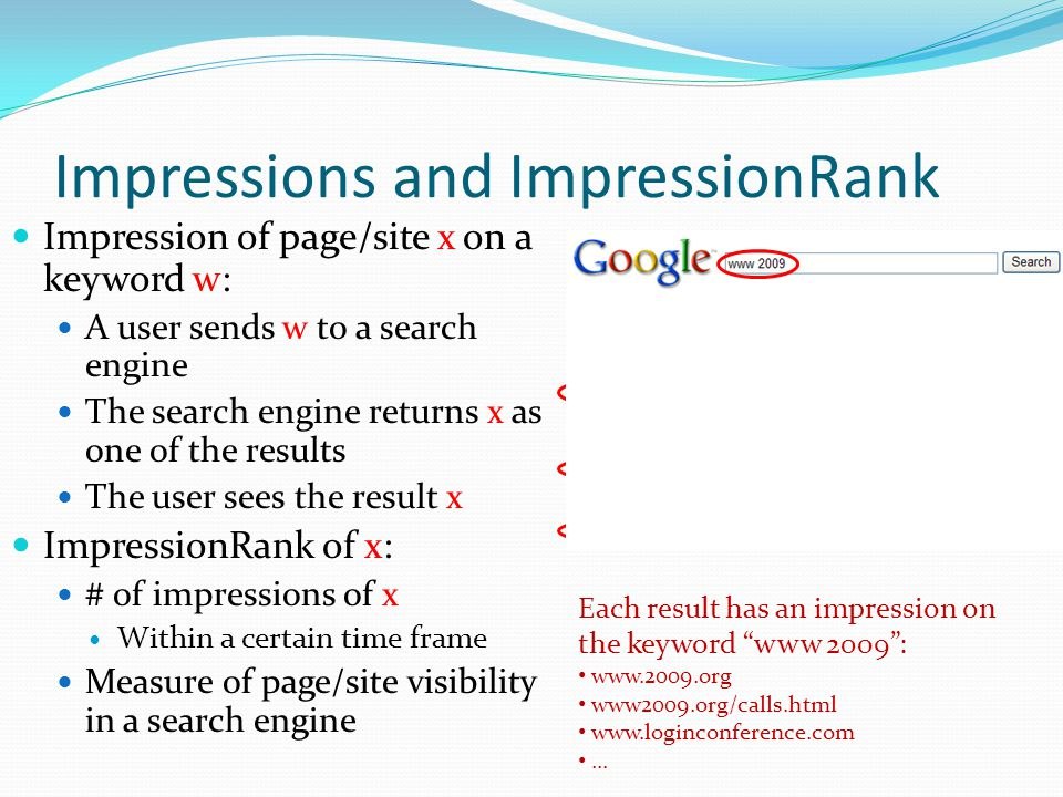 Impressions and ImpressionRank Impression of page/site x on a keyword w: A user sends w to a search engine The search engine returns x as one of the results The user sees the result x ImpressionRank of x: # of impressions of x Within a certain time frame Measure of page/site visibility in a search engine Each result has an impression on the keyword www 2009 : www.2009.org www2009.org/calls.html www.loginconference.com...