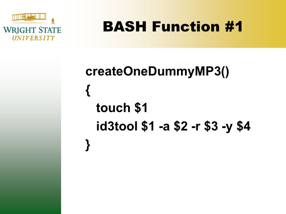 BASH Function #1 createOneDummyMP3() { touch $1 id3tool $1 -a $2 -r $3 -y $4 }