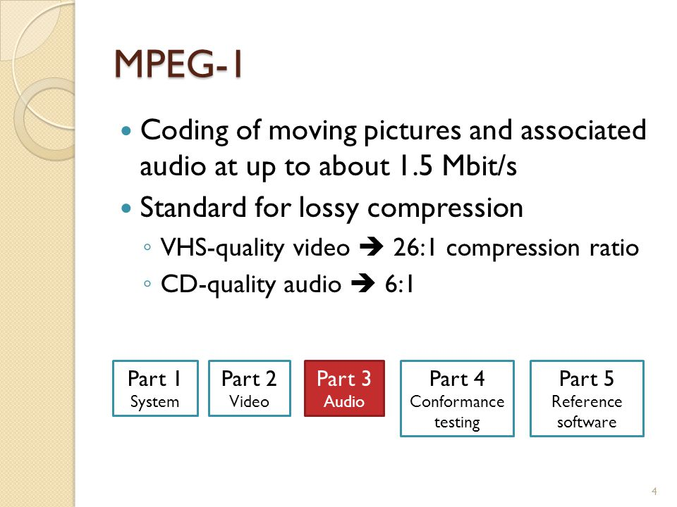 MPEG-1, Part 3: Audio Lossy compression Psychoacoustic model (perceptual coding) ◦ Reduces/discards parts we can't hear  Outside audible range  Masking Compression ratios 5 CD 1411.2 kb/s 128 kb/s 160 kb/s 192 kb/s 9:1 7:1 11:1 MPEG-1