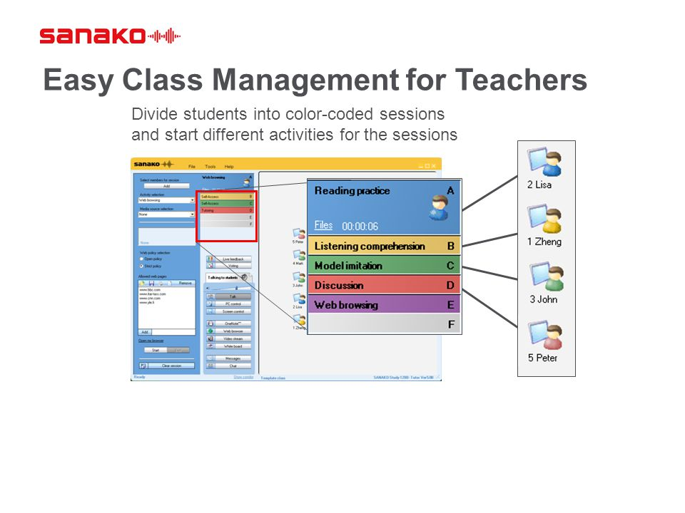 Divide students into color-coded sessions and start different activities for the sessions Easy Class Management for Teachers