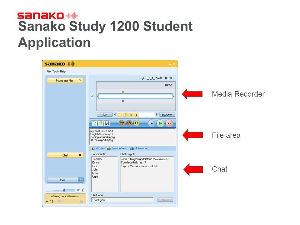 Sanako Study 1200 Student Application Media Recorder Chat File area