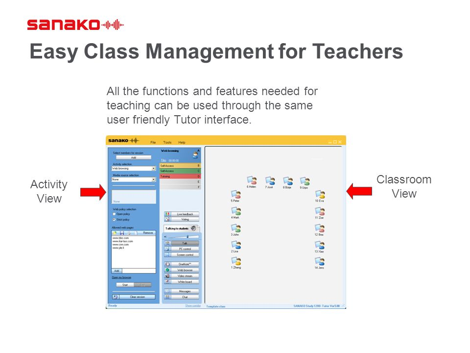 Easy Class Management for Teachers Activity View Classroom View All the functions and features needed for teaching can be used through the same user f