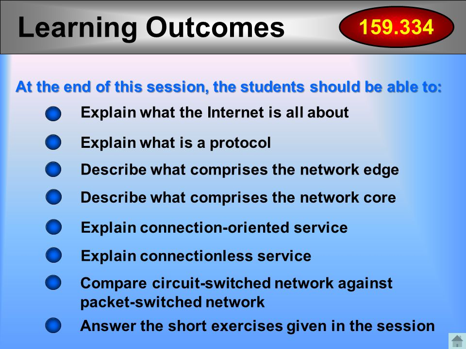 Describe what comprises the network edge Learning Outcomes Explain what the Internet is all about Explain what is a protocol Describe what comprises t