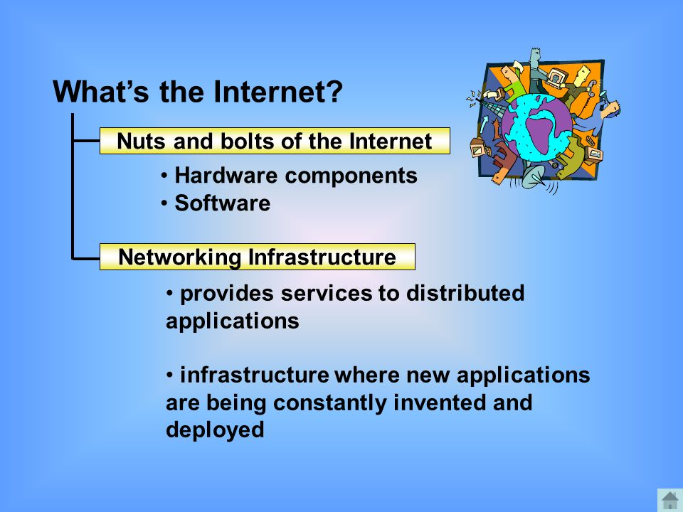 What's the Internet? Nuts and bolts of the Internet Networking Infrastructure Hardware components Software provides services to distributed applicatio